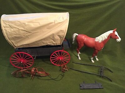 Marx Johnny West Vintage Toys , Horse & Covered Wagon
