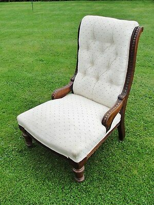 1890s VICTORIAN NURSING CHAIR in MAHOGANY with CREAM BUTTON BACK UPHOLSTERY