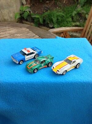 Vintage Matchbox Powertrack Slot Cars  3 Old  cars No Reserve