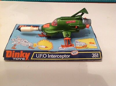 DINKY TOYS 351 UFO SHADO INTERCEPTOR on Repro Plinth plus repro missile.