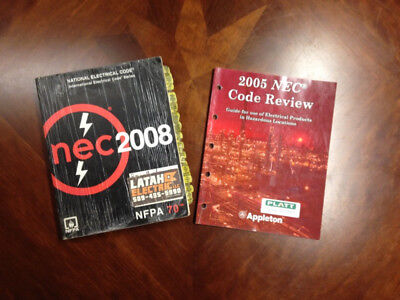 NEC 2008 National Electrical Code NFPA 70 & 2005 NEC Code Review (2 used books)