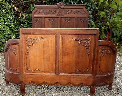 Stunning Antique French Oak Demi-Corbeille (Curved End) Double Bed, Needs TLC