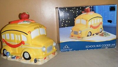"Holiday Time SCHOOL BUS Hand Painted Ceramic Cookie Jar 8"" x 11"" with Box"