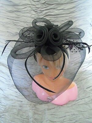 Black Feather Beads Tulle Net Tubing Headband Hat for Wedding, Halloween, Party