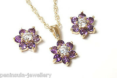 9ct Gold Amethyst Cluster Pendant and Earring Set Gift Boxed Made in UK