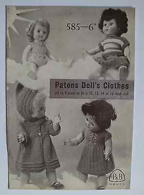 Vintage 1960s Paton's dk knitting pattern clothes dress etc 10, 12 14 & 16 doll