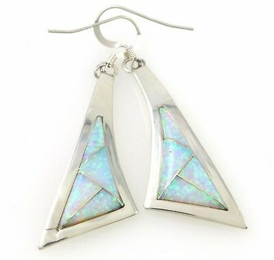 Navajo Handmade Solid 925 Sterling Silver Mosaic Opal Inlay Earrings | J M