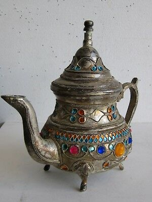 Fine Old Islamic Silver Plated Muslim Fantasy Footed Handled Teapot SIGNED