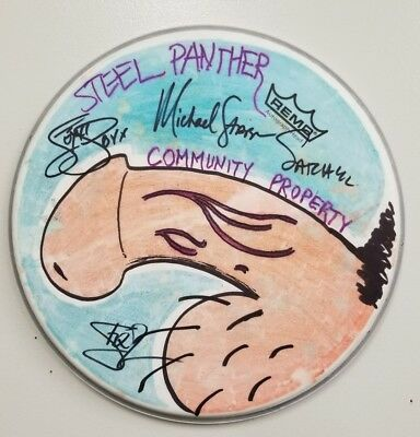 STEEL PANTHER Band Signed Autograph Drumhead SKETCH. PSA Guaranteed
