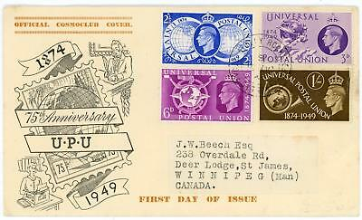 GB 1949 UPU Rare illustration FDC to Canada