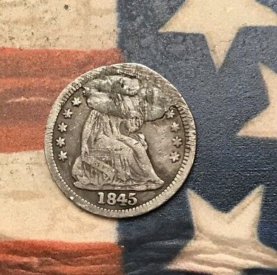 1845 5C Seated Liberty Half Dime 90% Silver Vintage US Coin #AX18 Nice Appeal
