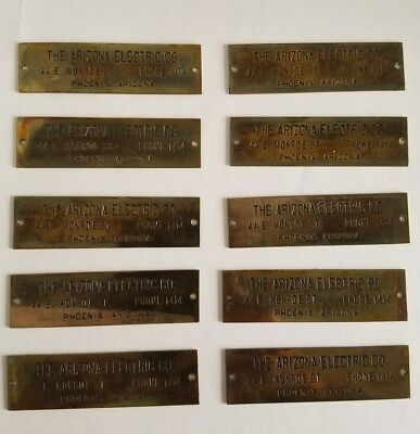 Vintage Brass Nameplate Tag Industrial The Phoenix Electric Co. lot of 10