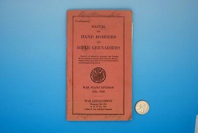 1918 MANUAL for HAND BOMBERS and RIFLE GRENADIERS - WW I with PHOTOGRAPH