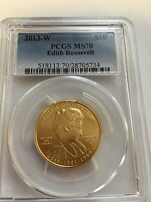 First Spouse $10 Gold, 2013W, Edith Roosevelt, Pcgs Ms70