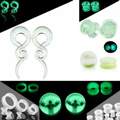 2 PCS Glow In The Dark Ear Tunnels Plugs Expander Stretcher Multi Styles Gauges