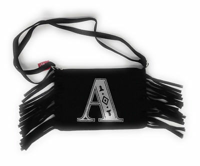"""Justice for Girls Black Fringe Crossbody Purse~ Initial """"A"""" NWT!"""