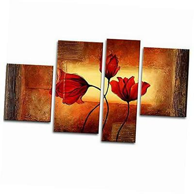 - red poppies in warm modern 4 piece 100% hand painted framed flowers artwork