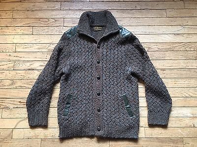 Vintage Tundra Cardigan Wool Sweater Brown Green Button Up Medium MADE IN CANADA