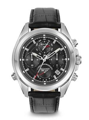 Brand New Bulova Precisionist Blck Dial Black Leather Strap Mens Watch :96B259