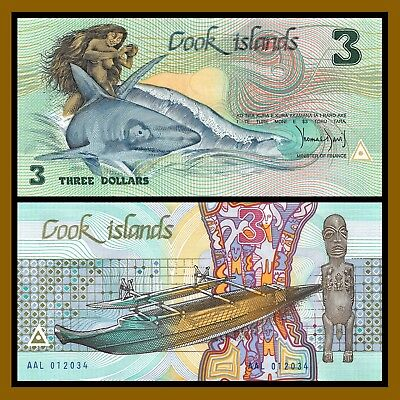 Cook Islands 3 Dollars, ND 1987 P-3a Unc