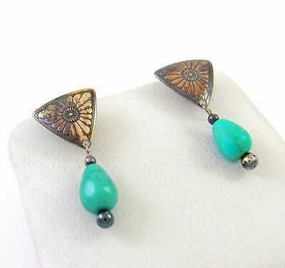 Vintage Southwestern Q.T. Sterling Silver & Turquoise Earrings │RS B