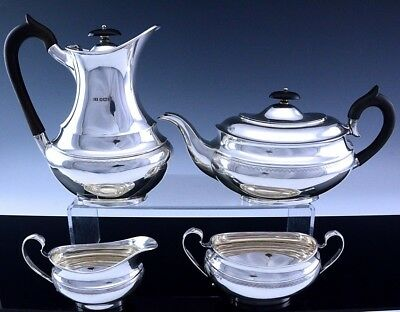 VERY FINE c1956 GEORGIAN DESIGN ENGLISH STERLING SILVER TEA & COFFEE SERVICE SET
