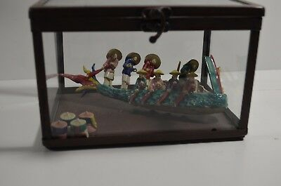 Exquisite19th Century Antique Chinese Porcelain Dragon Boat w/12 People And Mark