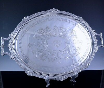 MUSEUM QUALITY HUGE c1780 GEORGIAN SILVER SHEFFIELD PLATE ARMORIAL PLATTER TRAY