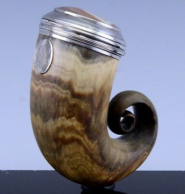 19thC SCOTTISH PROVINCIAL STERLING SILVER BANDED AGATE RAMS HORN SNUFF MULL BOX