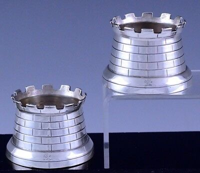 Pair 1892 Victorian Sterling Silver Castle Tower Figural Open Salt Cellar Bowls