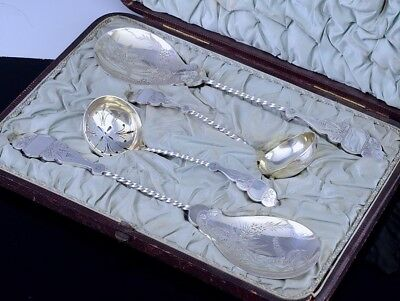 Superb Victorian Silver Plate Bright Cut Berry Serving Spoons & Ladles Cased Set