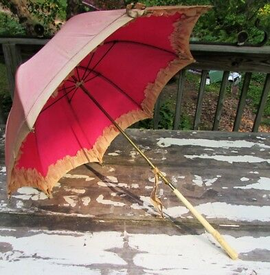 Victorian 19th Century Small Carriage Silk Parasol with Fancy Carved Bone Handle