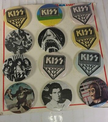 Vintage KISS Pinback Button New Old Stock Rock N Roll JAWS KING Kong Display