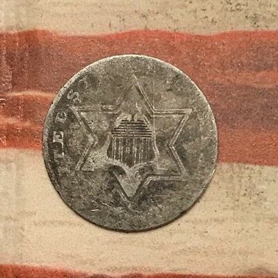 1858?? 3C Three Cent Silver Piece Vintage US Coin #AX29 Sharp Rare Better Date