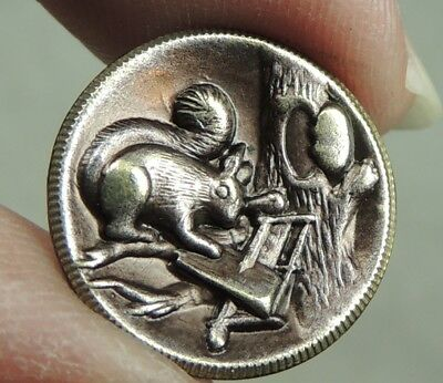Brass Picture Button ~ Squirrel Post Office  Metal