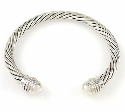 Heavy Gauge Solid 925 Sterling Silver Twisted Cable Rope Cuff Bracelet | J AX