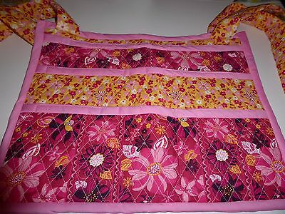 HANDMADE WALKER COVER/BAG W/MANY POCKETS; pink/yellow