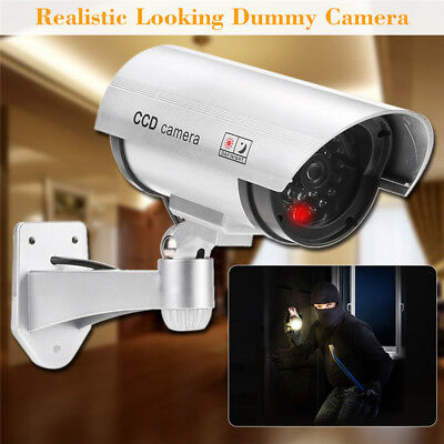 White Flashing Light Dummy Security Camera Fake Infrared LED Surveillance CCTV