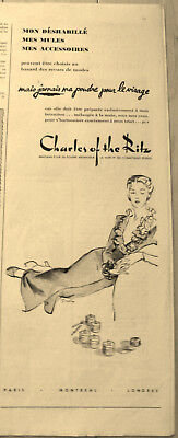 Charles of the Ritz Paris London Vintage 1946 Ad Face Powder Poudre pour visage