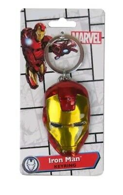 Iron Man Head Face Colored Pewter Keychain Key Chain Clip New Marvel Comics