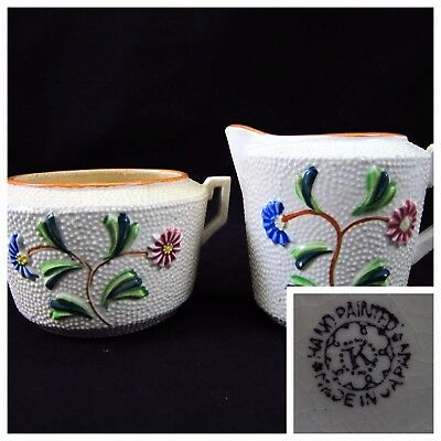 Antique Creamer Pitcher and Sugar Bowl Hand Painted Flowers Japan Marked 'K'