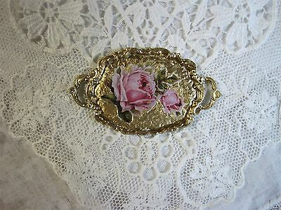 New Dollhouse Shabby Chic Tray, 2 Handles, Gold Leaf Finish, Stunning Pink Roses