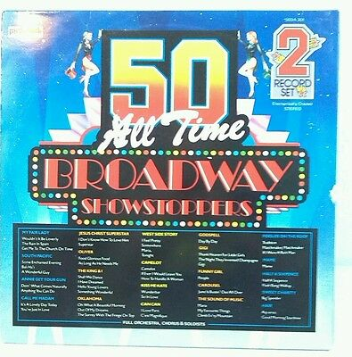 """50 All Time Broadway Showstoppers 2 x 12"""" Vinyl Record LP EX - Pickwick 50DA 301"""