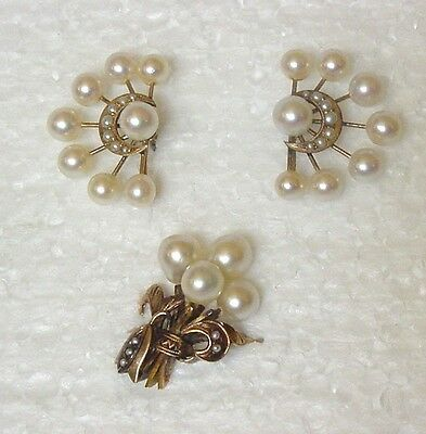 Antique Victorian 14k Yellow Gold Seed Pearl Leaf Crescent Ring Earring Set S6.5