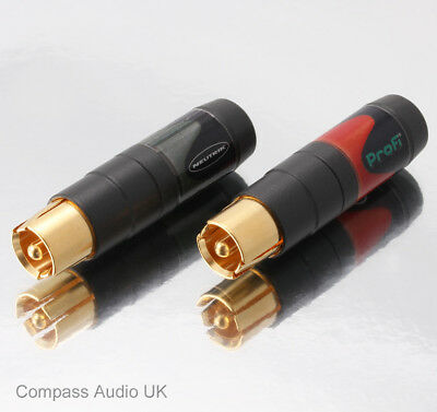 NEUTRIK PROFI Phono RCA PLUGS Pro Fi NF2C-B/2 (1 Pair) Audio Connectors