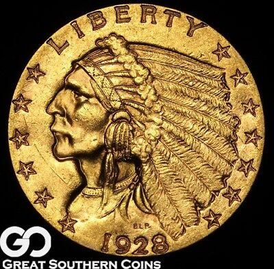 1928 Quarter Eagle, $2.5 Gold Indian, Sharp Brilliant Uncirculated ** Free S/H
