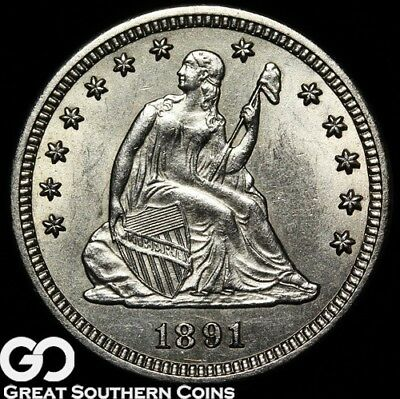 1891-S Seated Liberty Quarter, Lustrous Brilliant Uncirculated+++, Sharp Strike!
