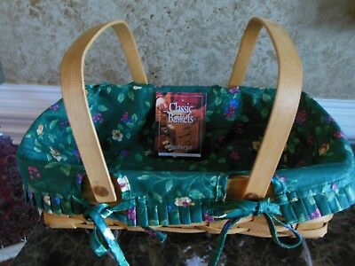 Longaberger Gathering Basket with liner, and 2 protectors