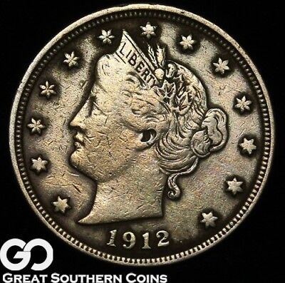 1912-S Liberty Nickel, V Nickel, Very Scarce Key Date, Very Tough! ** Free S/H