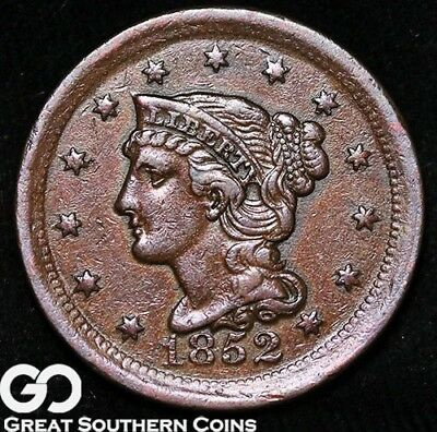 1852 Large Cent, Braided Hair, Choice AU+++